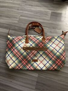 Dooney and Bourke Authentic Mixed Color Canvas Leather Gym/Duffel/Travel Bag