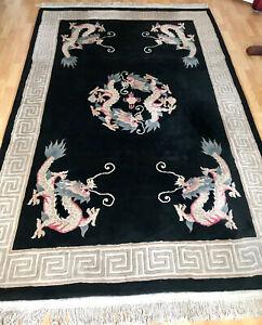 Chinese Six Dragon Rectangular Wool Rug