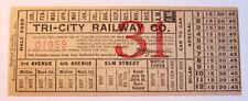 Vintage Tri-City Railway Co. Streetcar & Trolley Transfer