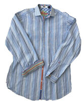 Robert Graham men's Large Tall Rainbow Cuff Blue Stripe long sleeve dress shirt