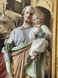 Church Statue Joseph Holding Baby Jesus Religious Symbolism Catholic Antique VTG