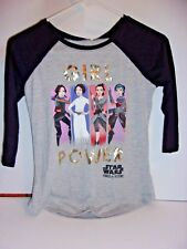 Star Wars Girl Power Long Sleeve Black and Gray TShirt Size XL14/16 667
