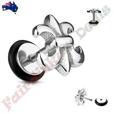 316L Surgical Steel Silver Ion Plated Fleur De Lis  Fake Ear Plugs Tunnel