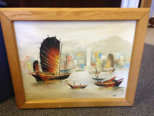 """Oil on Canvas Nautical Ship Painting Framed & Signed Stephen 28-3/4 x 23-1/4"""""""