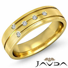 Round 5 Bezel Diamond Ring 18k Yellow Gold Eternity Wedding Men Dome Band 0.15Ct