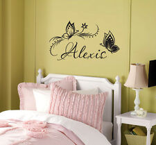 Personalized Name & Butterflies custom wall vinyl decal sticker