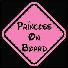 "Princess on Board Window Decal/Sticker Pink 5.5""H"