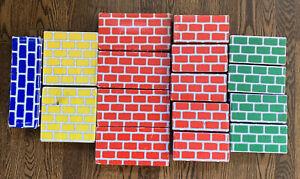 Vintage Cardboard Bricks Building Block Toys Educational Lot Of 16 Multicolor