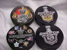 2017 NHL Stanley Cup Playoffs Boston Bruins Hockey Four (4) Puck Souvenir Pack