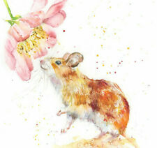 Fine Art Print of MOUSE and Rose watercolour by HELEN APRIL ROSE   660