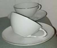 Vintage Sango Silver Snow 24255 Fine China Japan, Tea or Coffee Cups & Saucers