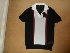 NEW DSQUARED2 ITALY RETRO STYLE OPEN NECK POLO SHIRT WHITE BLACK RED LARGE £370