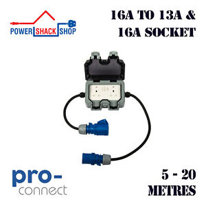 PC, ADAPTOR, 16A Plug to Twin 13A Weatherproof Socket and 16A Socket, 5 - 20M