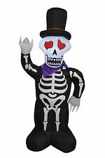Halloween Air Blown Inflatable Yard Blowup Decoration Skull Skeleton and Top Hat