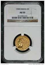 Indian 1908 $5 gold NGC AU55