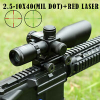 2.5-10x40EG Tactical Rifle Scope Red&Green Mil-dot illuminated Red Laser Mount