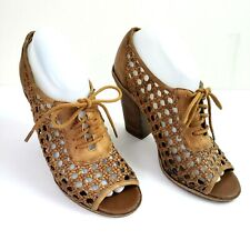 ced3880a114 Hinge Leather Heels Size 8 Brown Open Toe Cane Weave Lace Up Peep Toe  Sandals