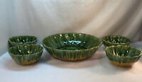 Vtg 5pc 1960's McCoy USA #802 803 Pottery Green Hippy Drip Yellow Salad Bowl Set
