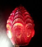 Vintage Mid Century Red Optic Art Glass Shade Swag Lamp Light See Detailed Pics