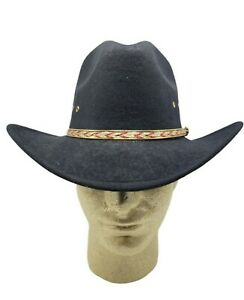 Western Express Black Faux Felt Cowboy Hat With Red Band Size 6 3/4 6 1/2 New