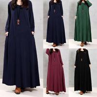 Oversize Femme Loose Couleur Unie Col V Coton Manches longue Robe Jupe Maxi Plus