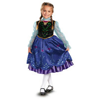 Girls Disney Frozen Anna Deluxe Costume Dress with Child Wig Complete Set New