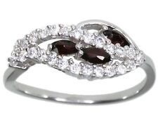 Garnet Gemstone Marquise Dainty Sterling Silver Ring size O
