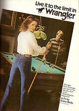 1984 Wrangler Jeans Foster Grant Eyewear Pool Billiards Vintage Print Ad 1980s