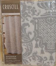 "NEW Shower Curtain Croscill Medici Cotton Grey 70"" W X 72"" L"