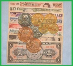LOT 8 MEXICO PESOS BANKNOTE MULTIPLE DENOMINATION 5 COINS INCLUDED MEXICO BILLS