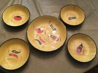 Pier 1, Verdura (Italy) - Set Of 5 (4 Individual Pasta & 1 Larger Bowl)