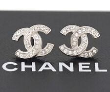 CHANEL Mini CC Logo Crystal Stud Earrings Silver & Rhinestone w/BOX g3936
