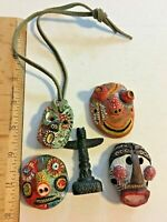 Vintage Native Pottery handmade Hand Painted Masks Totem Lot SKU 070-071