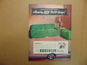 1949 KROEHLER Green Couch and Chair Set  vintage art print ad