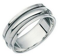 Elements 925 Polished Sterling Silver Plain Slim Band Spinning Stress Ring