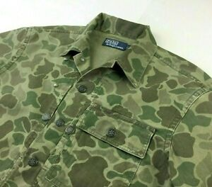 Polo Ralph Lauren Military Army Camo Soldiers Fatigue Officer Camp Shirt Jacket
