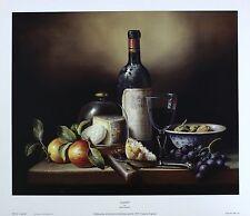 "BRIAN DAVIES ""Claret"" FRUIT cheese grapes VINTAGE wine! SIZE:33cm x 41cm  RARE"