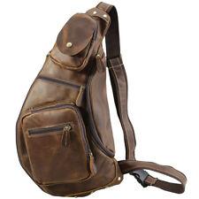 Vintage Men 's Leather Sling Backpacks Bike Shoulder Bag Waist Chest Bag Brown