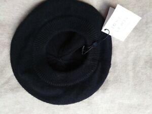 John Lewis Cashmere Black Beret Hat  New