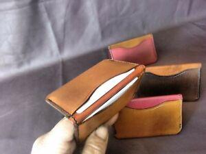 Handmade vegetable tanned leather card holder, minimalist wallet, UK made