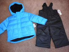 Snowsuits Blue Puffer Jackets Boys Snow Bibs Coats Water resistant 2 pcs 18 mos