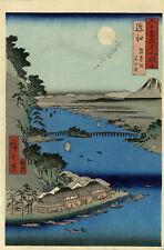 HIROSHIGE Japanese Woodblock Print ISHIYAMA TEMPLE LAKE BIWA c.1853 Rare