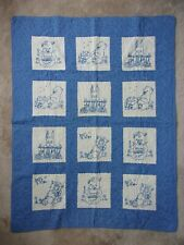 """Vintage Blue Baby Crib Quilt Cotton Embroidered Pig Bear Bunny Cat ~ 32"""" x 41"""""""