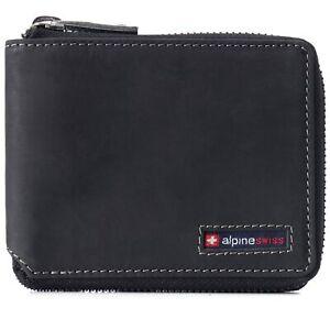 Alpine Swiss Unisex RFID Safe Zipper Wallet Genuine Leather Zip Around Bifold