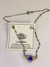 """16"""" Sterling and Gold Filled Necklace with Blue and Clear Lucite Sandy Baker"""