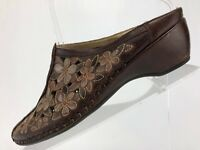 Pikolinos Sandals Brown Floral Leather Platform Mule Heels Womens Sz 38 US 7.5/8