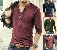 Men Cotton Vintage T Shirt Casual Long Sleeve V Neck Old Color Cardigan Fashion