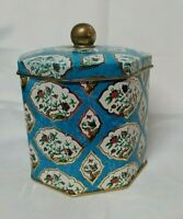 Vintage Octagonal Shaped Decorative Tin Container, Birds, Butterflies, Garden