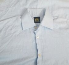 Oxxford Clothes Men's Handmade Long Sleeve Shirt Sz 16-36 Blue Made in Italy