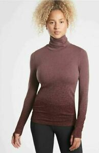 NWT ATHLETA Flurry Blizzard Gradient Turtleneck - S - SMALL  Abalone Grey/Coffee